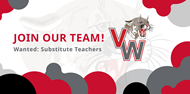 Join Our Team! Wanted: Substitute Teachers with VW cougar head logo