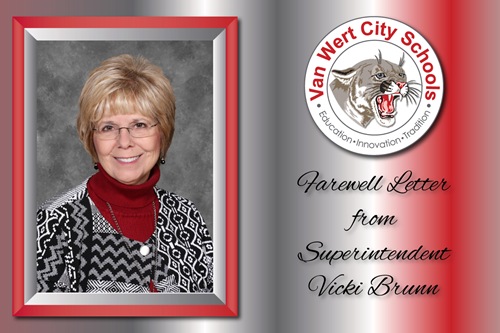 Farewell Letter from Superintendent Vicki Brunn with a photo of Vicki and the VWCS circle logo