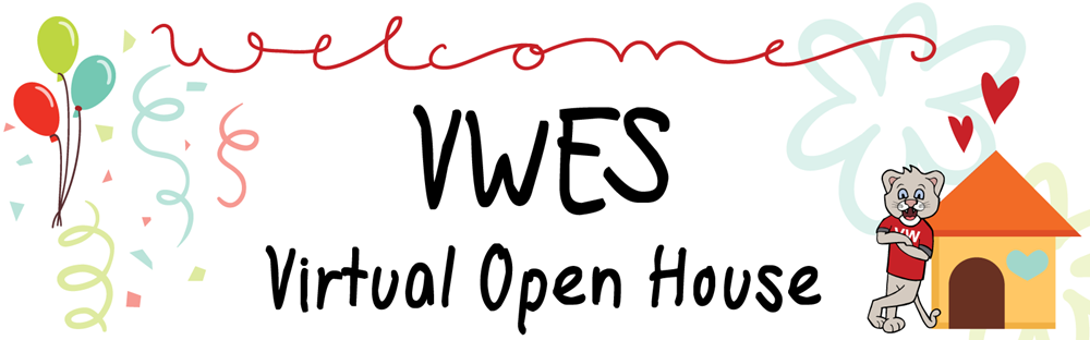Welcome to VWES Virtual Open House with graphics of balloons, confetti and a cougar leaning on his house