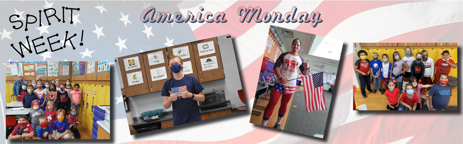 Various pictures of students dressed up for America Monday during spirit week